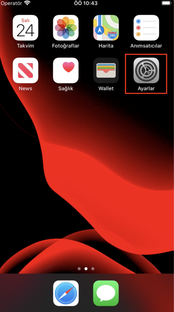 Iphone ayarlar menüsü
