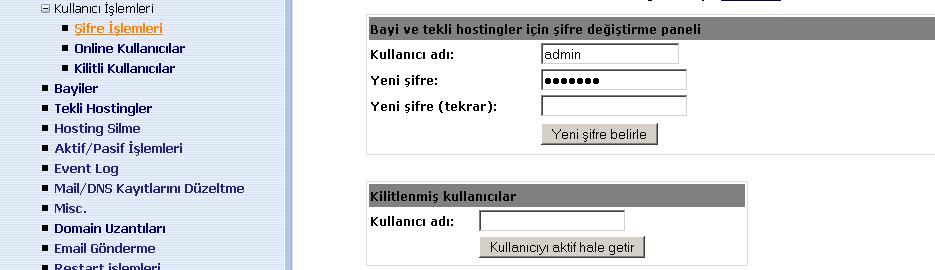 şifre işlemleri